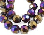 Faceted Round AB Black 6mm Beads (30)